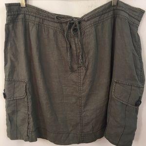 Ann Taylor LOFT Mini Skirt Plus Sz 18 Linen Cargo